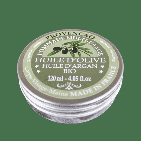 Pommade multi-usages bio à l'huile d'olive et huile d'Argan - Pot de 120 ml