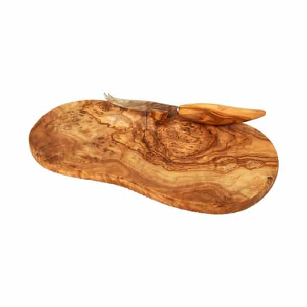 Fromagette en bois d'olivier massif et son couteau inox / manche bois d'olivier