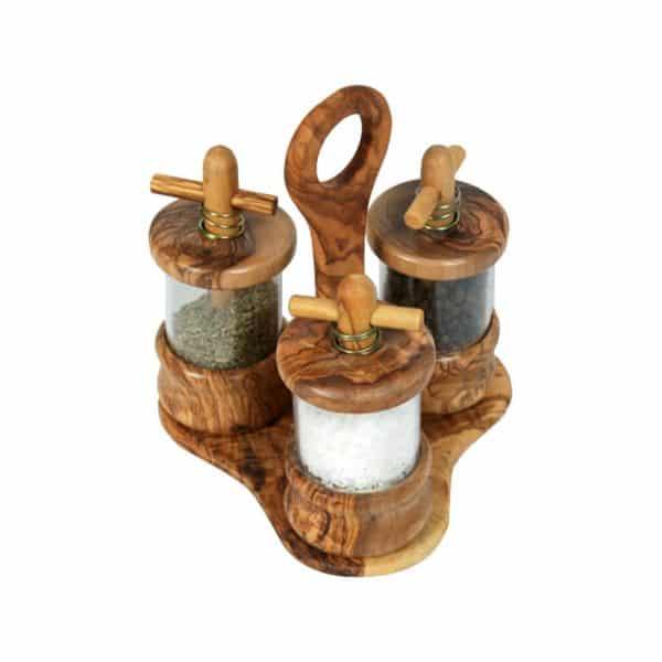 Ménagère 3 moulins en bois d'olivier (sel, poivre, herbes de Provence)