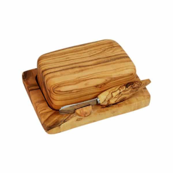 Beurrier cloche en bois d'olivier et tartineur