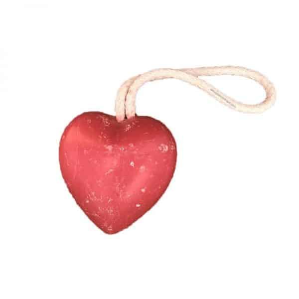 Savon en forme de Cœur aux fruits rouges, avec corde