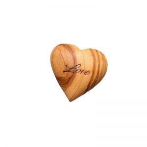 """Cœur plein """"Love"""" en bois d'olivier"""