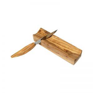 Coupe saucisson et couteau en bois d'olivier