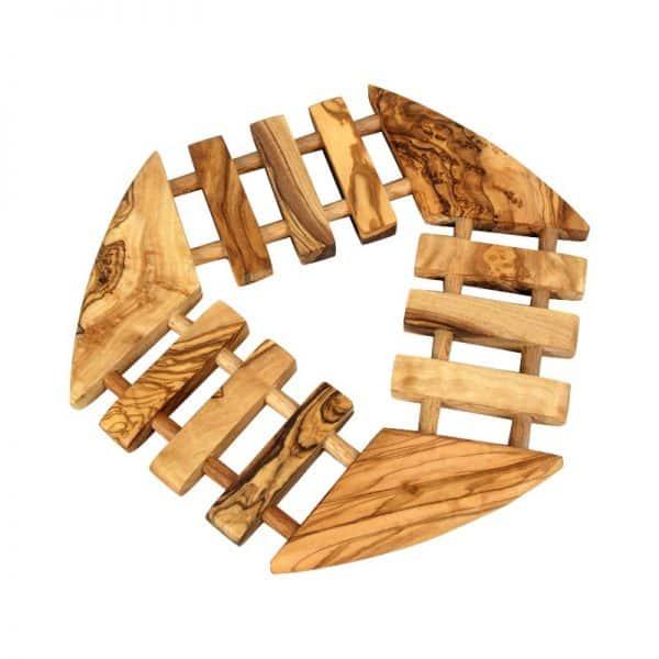 Dessous de plats géométrique en bois d'olivier