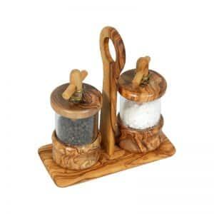 Ménagère moulins sel et poivre en bois olivier