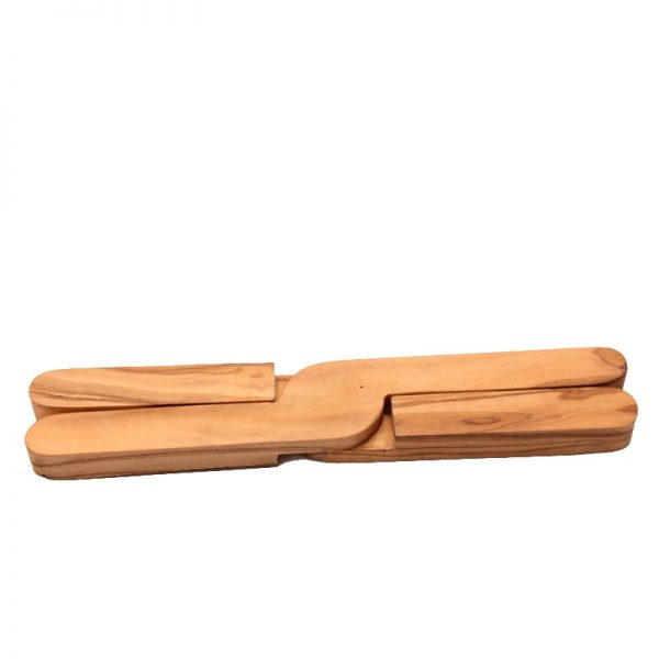 Dessous de plat pliant en bois d'olivier