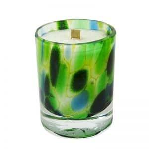 """Bougie artisanale parfumée aux fragrances de Grasse dans un verre """"murine"""" fait main et soufflé bouche décor """"Brésil"""""""