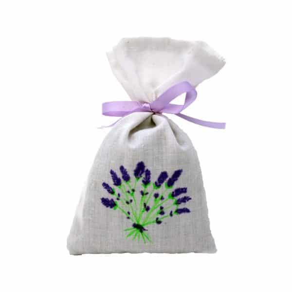 Sachet de lavande tissus blanc décoré à la main et ruban parme
