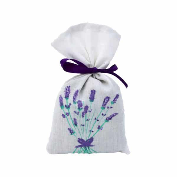 Sachet de lavande tissus blanc décoré à la main et ruban violet