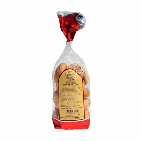 Canistrelli aromatisés au citron fabriqués de façon artisanale par la Biscuiterie d'Azur- Sachet 200 gr
